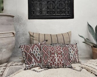 moroccan kilim pillow, boho pillow, boheme, boho chic, wedding gift idea, wedding decoration, bohemian modern, rustic, vintage, berber rug
