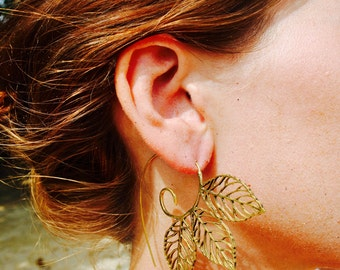 Unique leaf threader earrings. 100% brass.