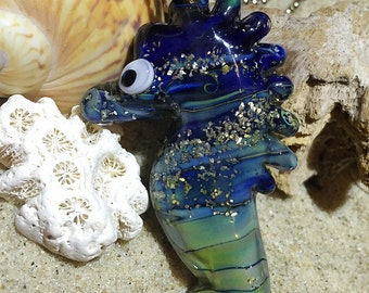 Sea Horse Lampwork Glass Pendants bead / Lampwork bead by Jacqueline Herzog pearls witchcraft