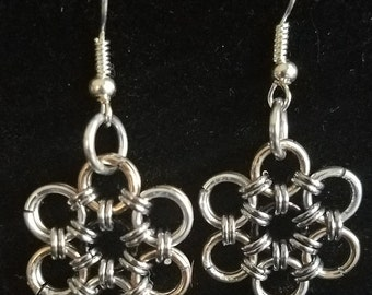 Gold and Silver Chainmaille Flower Earrings