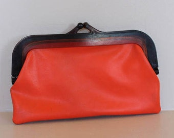 Orange handbag, orange purse, vintage pouch, vintage accessory, purse, large purse