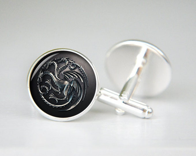 House Targaryen game of thrones personalized custom cufflinks, cool gifts for men, wedding silver cuff link, groom cufflinks