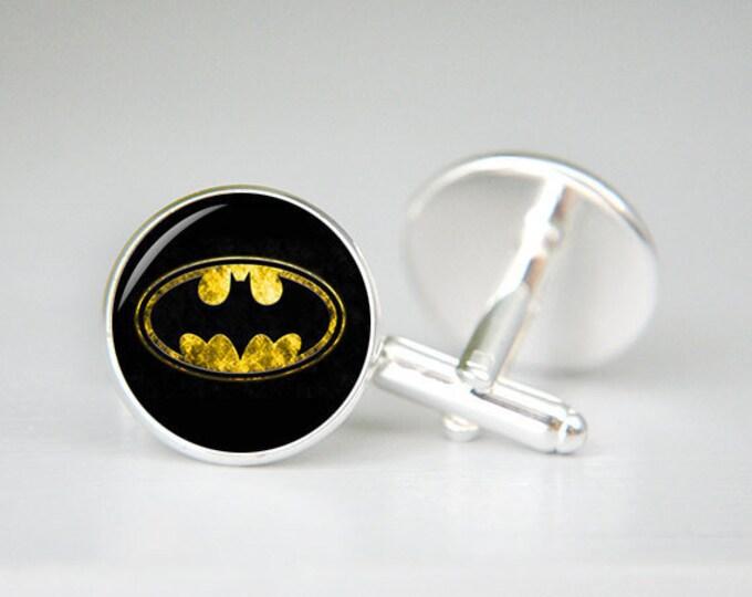 Personalized superhero cufflinks, Superman Cufflinks, cool gifts for men, Superman Jewelry