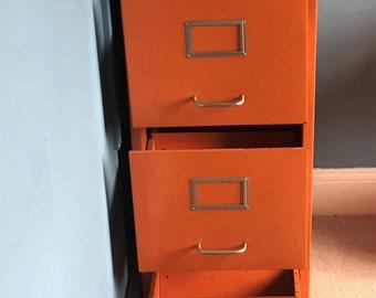 Funky Orange Metal Filing Cabinet