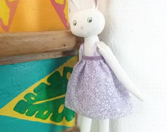 Doll lapine cotton in a lilac dress