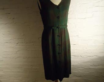 New PRiCE * green and Brown sleeveless dress buttoned on the front of the 40s * authentic Vintage 40's * T40