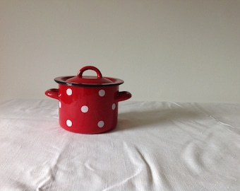 Red with white polka dot enamel pot