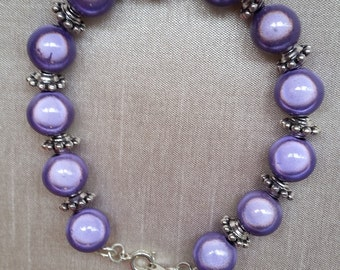 Sterling Silver and Mauve Reflector Bead Bracelet