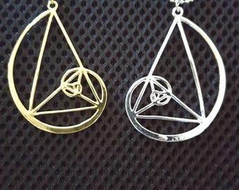Golden Triangle Pendant-Golden Spiral-Fibonacci-Golden Ratio-Science Necklace- Mathematics-Geometry