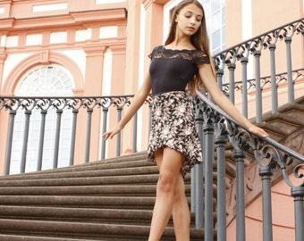 Ballet wrap skirt - black roses print - for adults