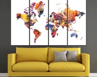 Watercolor World Map Canvas Panels Set, Abstract World Map Print, / 1,2,3,4 or 5 Panels on Canvas Wall Art for Home & Office Decor