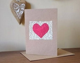 Handmade greetings card upcycled book and fabric
