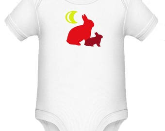Baby body with rabbit, 3-6/12-18 months, handmade