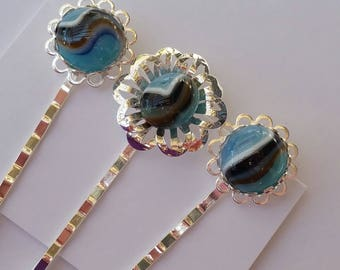 Kiln fired cabochons with 8 layers of fused glass hair pin trio in a shiny silver finish and standard length