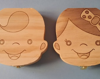 Wooden box to store baby teeth.