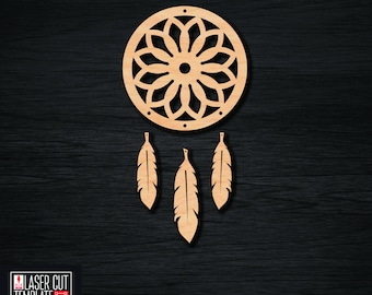 Dreamcatcher laser cut template, cnc cutting file, cut template pattern, woodworking plans, cnc router plans, carving wood file