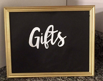 Gold chalkboard wedding signs