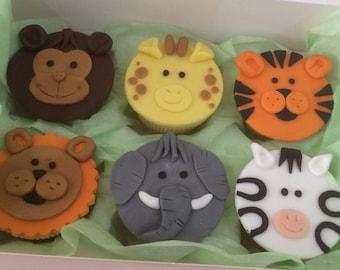 12 Cupcake Safari Animal Themed Toppers - Cupcake Toppers - Cupcake Decorations - Fondant - Giraffe - Elephant - Tiger - Lion - Monkey
