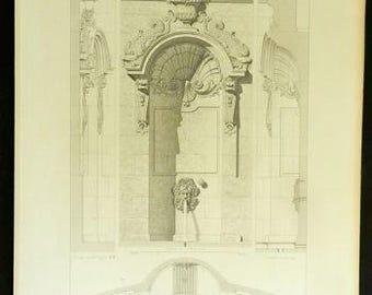 1869 Antique Print, Fontaine de l'Abbaye