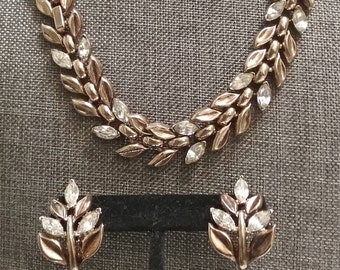 Alfred Phillipe  Crown Trifari Necklace and Earrings