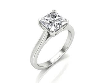 1.70ct Princess Moissanite Engagement Ring - Forever One Princess Moissanite Ring - Charles & Colvard 6.5mm Square Moissanite Solitaire Ring