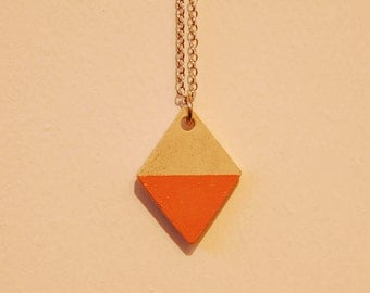 Concrete diamond shaped pendant