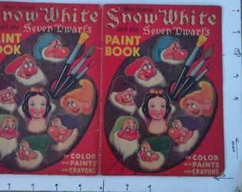 SNOW WHITE & the SEVEN Dwarfs walt disney, paint book original vintage 1938