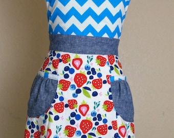 Strawberry Fields Forever apron, Women's full apron - Laneymade
