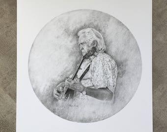 J.D. Crowe Banjo One Study Drawing Art Print