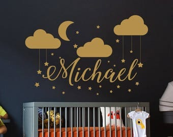 Name Wall Decal Baby Nursery Wall Decal Boy Name  For Son's Nursery Vinyl Decal Clouds Wall Decor Moon Stickers Decal Star Art Decor S79