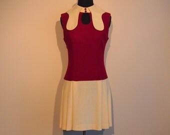 Vintage 1960's Mini Dress; 60's Mod Dress; 60's Summer Dress XS