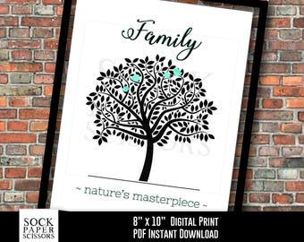 Printable Print, Tree of Life, Family Tree, Family - Nature's Masterpiece, Wedding Gift, Anniversary Gift, PDF Digital Download, Sku-RHO124