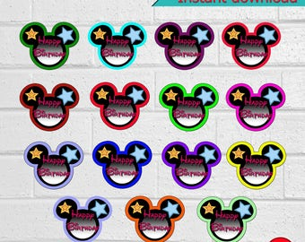 Printable Mickey Cupcake Toppers, Mickey Mouse Cupcake Toppers,  Mickey Mouse Party, Mickey Mouse Stickers, instant download