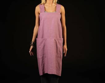 Square cross linen apron / Full linen apron / Japanese linen apron / lilac