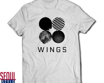 BTS Wings Logo Bangtan Boys K-Pop Idol Unisex Korea Short Sleeve White Cotton T-Shirt Sizes S, M, L & XL