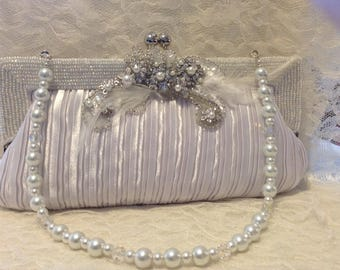 White Satin Bridal Purse,Pearls,Crystal Brooch,Feathers,Swarovski,Beaded, Wedding, Bride,Handbags,Bridal Bags,Clutch