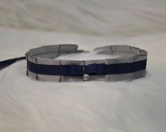 BDSM/DDLG/Kitten Play Collar // Grey and Navy Kitten Play/BDSM Day Collar with Swarovski crystal