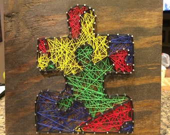 Autism Awareness Puzzle Piece String Art