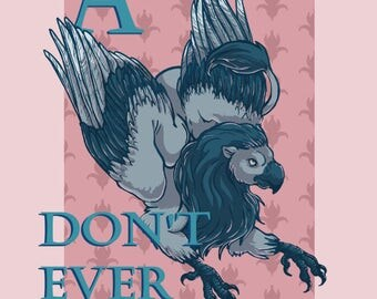 Always Don't Ever Not Try - Confusing Advice Gryphon A5 Postcard Print