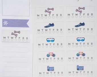 20 Workout Habit Tracker Stickers // Planner Stickers for Erin Condren, Kikki K etc. Exercise, weights, running, swimming, yoga daily habit