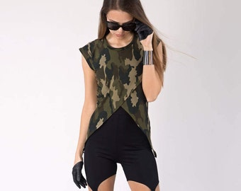 Military Top, Camouflage, Cotton Top, Military Blouse, Military Dress, Military, Womens T-shirt, Military T-shirt, Asymmetrical T-Shirt
