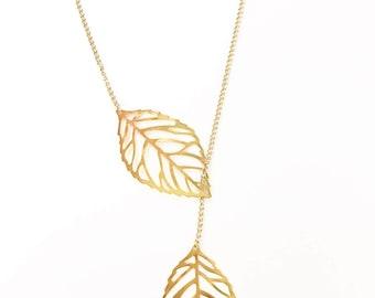 Gold Leaf Lariat, Delicate Leaves Necklace, Dainty Leaf Necklace, Gold Necklace, Lariat Necklace