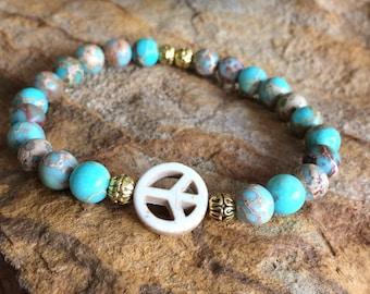 Blue Bracelet, Chrismatite Bracelet, Peace Bracelet, Stretch Bracelet