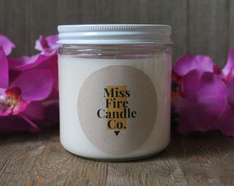 Sea Salt & Orchid Scented Soy Candle in a Glass Jar