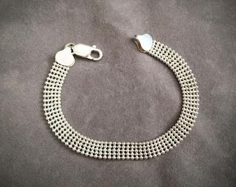 1960s Italian Genuine Sterling Silver Beaded Bracelet/ Elegant Silver Bracelet/ Made in Italy