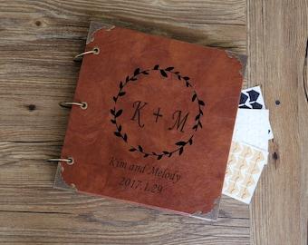Personalized Laurel Leaf with Initials Wedding Guest Book/ Custom Leather Photo Album /wedding Scrapbook