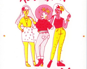 Feminist Protest Art Print   100% of Proceeds to the Women's March   8.5x11 Illustration Poster   Wall Decor   Nasty Women Risograph