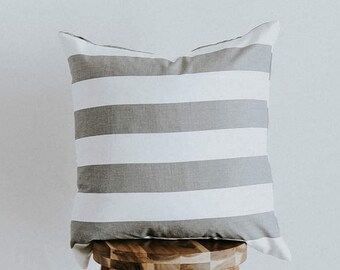 "Striped Throw Pillow Cover Gray and White Contemporary Collection Square ""Cozette"""