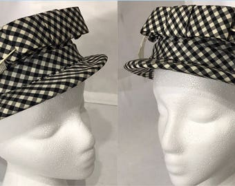 1980's | Womens Bowler Hat | B&W cloth w/faux feather