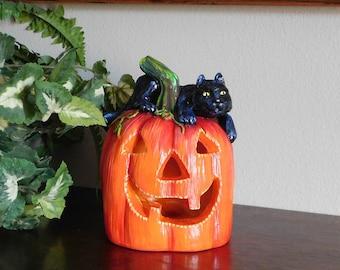 Pumpkin with Black Cat, Jack o' Lantern, Lighted Pumpkin, Halloween Decor, Black Cat, Hand Painted, Plaster, Yellow Eyes